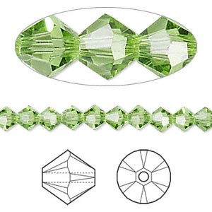 bead, swarovski crystals, peridot, 5mm xilion bicone (5328). sold per pkg of 144 (1 gross).