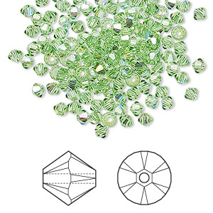 bead, swarovski crystals, peridot ab, 3mm xilion bicone (5328). sold per pkg of 144 (1 gross).
