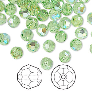 bead, swarovski crystals, peridot ab, 6mm faceted round (5000). sold per pkg of 360.