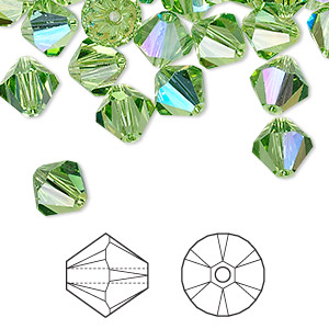 bead, swarovski crystals, peridot ab, 8mm xilion bicone (5328). sold per pkg of 288 (2 gross).