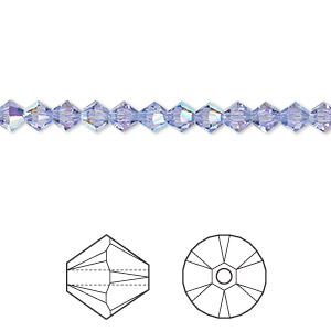 bead, swarovski crystals, provence lavender ab, 4mm xilion bicone (5328). sold per pkg of 1,440 (10 gross).