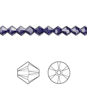 bead, swarovski crystals, purple velvet, 5mm xilion bicone (5328). sold per pkg of 720 (5 gross).