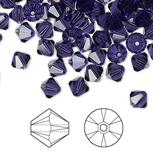 bead, swarovski crystals, purple velvet, 6mm xilion bicone (5328). sold per pkg of 360.