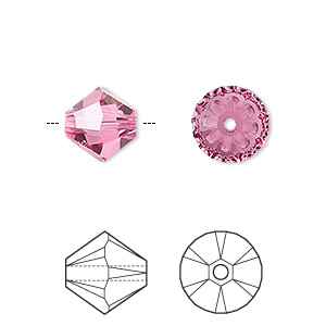 bead, swarovski crystals, rose, 10mm xilion bicone (5328). sold per pkg of 2.