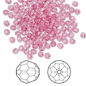 bead, swarovski crystals, rose, 3mm faceted round (5000). sold per pkg of 720 (5 gross).