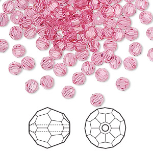 bead, swarovski crystals, rose, 4mm faceted round (5000). sold per pkg of 720 (5 gross).