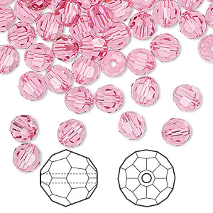 bead, swarovski crystals, rose, 6mm faceted round (5000). sold per pkg of 360.