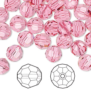 bead, swarovski crystals, rose, 8mm faceted round (5000). sold per pkg of 144 (1 gross).