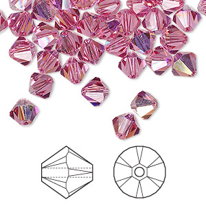 bead, swarovski crystals, rose ab, 6mm xilion bicone (5328). sold per pkg of 144 (1 gross).