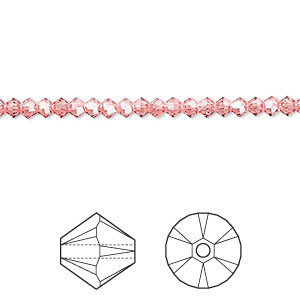 bead, swarovski crystals, rose peach, 3mm xilion bicone (5328). sold per pkg of 1,440 (10 gross).