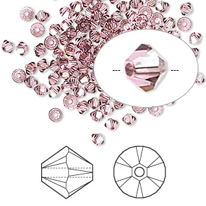 bead, swarovski crystals, rose satin, 3mm xilion bicone (5328). sold per pkg of 1,440 (10 gross).
