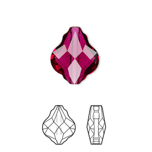 bead, swarovski crystals, ruby, 14mm faceted baroque (5058). sold per pkg of 36.