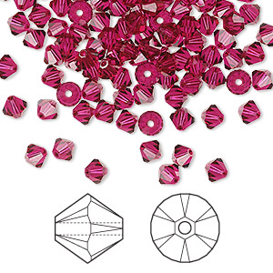 bead, swarovski crystals, ruby, 4mm xilion bicone (5328). sold per pkg of 144 (1 gross).