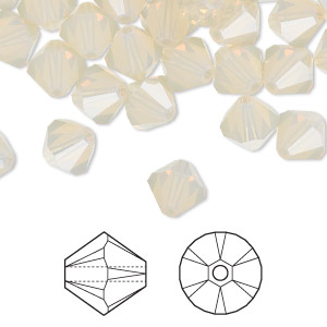 bead, swarovski crystals, sand opal, 8mm faceted bicone (5301). sold per pkg of 288 (2 gross).