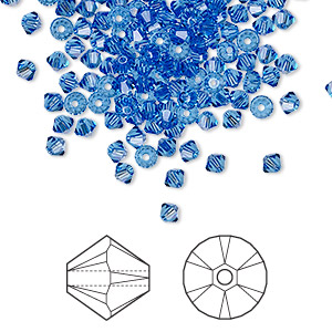 bead, swarovski crystals, sapphire, 3mm xilion bicone (5328). sold per pkg of 144 (1 gross).