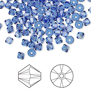 bead, swarovski crystals, sapphire, 4mm xilion bicone (5328). sold per pkg of 48.