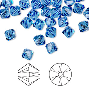 bead, swarovski crystals, sapphire, 6mm xilion bicone (5328). sold per pkg of 144 (1 gross).