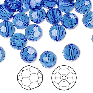 bead, swarovski crystals, sapphire, 8mm faceted round (5000). sold per pkg of 288 (2 gross).
