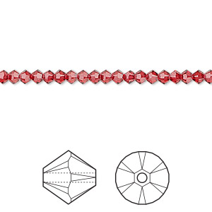 bead, swarovski crystals, scarlet, 3mm xilion bicone (5328). sold per pkg of 1,440 (10 gross).
