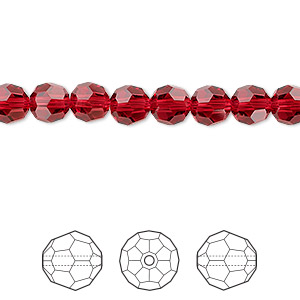 bead, swarovski crystals, scarlet, 6mm faceted round (5000). sold per pkg of 360.