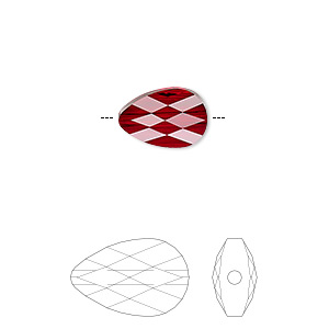 bead, swarovski crystals, siam, 12x8mm faceted mini drop (5056). sold per pkg of 96.