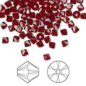 bead, swarovski crystals, siam, 4mm xilion bicone (5328). sold per pkg of 1,440 (10 gross).