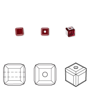 bead, swarovski crystals, siam, 4x4mm faceted cube (5601). sold per pkg of 288 (2 gross).