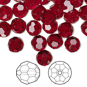 bead, swarovski crystals, siam, 8mm faceted round (5000). sold per pkg of 288 (2 gross).