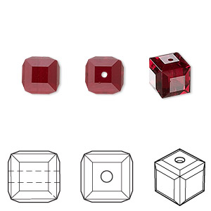 bead, swarovski crystals, siam, 8x8mm faceted cube (5601). sold per pkg of 96.