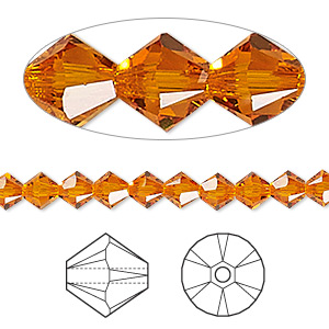 bead, swarovski crystals, tangerine, 5mm xilion bicone (5328). sold per pkg of 720 (5 gross).