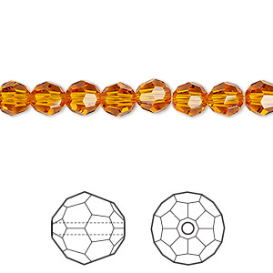 bead, swarovski crystals, tangerine, 6mm faceted round (5000). sold per pkg of 360.