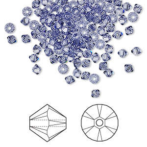 bead, swarovski crystals, tanzanite, 3mm xilion bicone (5328). sold per pkg of 144 (1 gross).