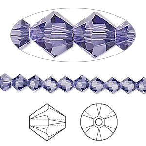 bead, swarovski crystals, tanzanite, 5mm xilion bicone (5328). sold per pkg of 24.