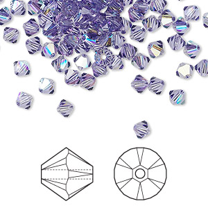 bead, swarovski crystals, tanzanite ab, 4mm xilion bicone (5328). sold per pkg of 1,440 (10 gross).