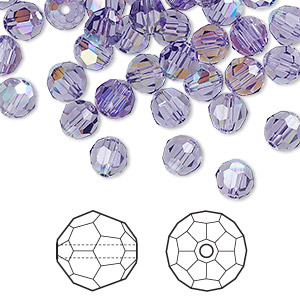 bead, swarovski crystals, tanzanite ab, 6mm faceted round (5000). sold per pkg of 360.