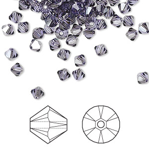 bead, swarovski crystals, tanzanite satin, 4mm xilion bicone (5328). sold per pkg of 1,440 (10 gross).