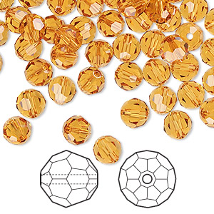 bead, swarovski crystals, topaz, 6mm faceted round (5000). sold per pkg of 144 (1 gross).
