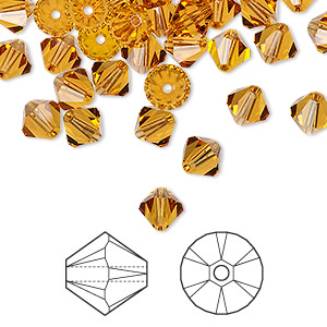bead, swarovski crystals, topaz, 6mm xilion bicone (5328). sold per pkg of 144 (1 gross).