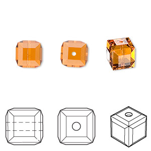 bead, swarovski crystals, topaz, 8x8mm faceted cube (5601). sold per pkg of 48.