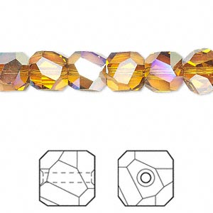 bead, swarovski crystals, topaz ab, 8x8mm faceted graphic cube (5603). sold per pkg of 6.