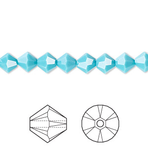 bead, swarovski crystals, turquoise, 6mm xilion bicone (5328). sold per pkg of 24.