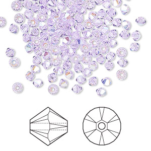 bead, swarovski crystals, violet ab, 3mm xilion bicone (5328). sold per pkg of 144 (1 gross).