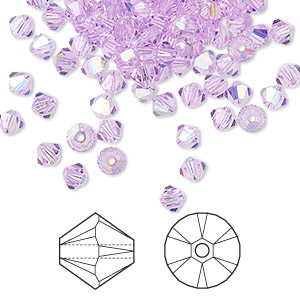 bead, swarovski crystals, violet ab, 4mm xilion bicone (5328). sold per pkg of 1,440 (10 gross).
