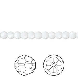 bead, swarovski crystals, white alabaster, 4mm faceted round (5000). sold per pkg of 144 (1 gross).