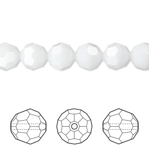 bead, swarovski crystals, white alabaster, 8mm faceted round (5000). sold per pkg of 288 (2 gross).