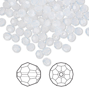 bead, swarovski crystals, white opal, 4mm faceted round (5000). sold per pkg of 720 (5 gross).