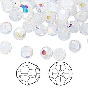 bead, swarovski crystals, white opal ab, 6mm faceted round (5000). sold per pkg of 360.