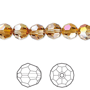 bead, swarovski crystals with third-party coating, crystal passions, crystal mahogany, 8mm faceted round (5000). sold per pkg of 12.