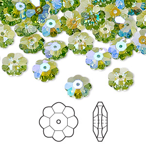 bead, swarovski crystals with third-party coating, peridot glacier blue, 8x3mm faceted marguerite lochrose flower (3700). sold per pkg of 288 (2 gross).