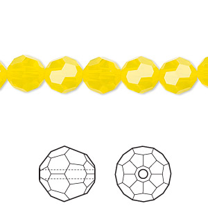 bead, swarovski crystals, yellow opal, 8mm faceted round (5000). sold per pkg of 288 (2 gross).